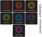 set of seven chakra symbols... | Shutterstock .eps vector #659605891