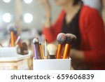 make up brushes put on the make ... | Shutterstock . vector #659606839