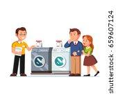 shop seller assistant showing... | Shutterstock .eps vector #659607124