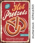 hot pretzels old sign for... | Shutterstock .eps vector #659616505