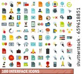 100 interface icons set in flat ...