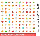 100 delicious food icons set in ... | Shutterstock . vector #659619457