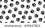 Stock vector cat paw dog paw vector doodle seamless pattern wallpaper background 659627821