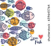postcard with fish and polka... | Shutterstock .eps vector #659645764