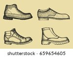 shoes set of hand drawings.... | Shutterstock .eps vector #659654605