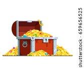 open pirate antique treasure... | Shutterstock .eps vector #659656525
