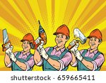 construction worker with the... | Shutterstock .eps vector #659665411