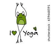 funny yoga frog  sketch for... | Shutterstock .eps vector #659668591