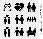 couple icons set. set of 9...