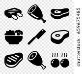 steak icons set. set of 9 steak ... | Shutterstock .eps vector #659675485