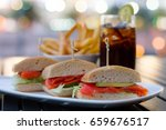 smoked salmon ciabatta sandwich ... | Shutterstock . vector #659676517