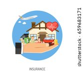 insurance services concept. man ... | Shutterstock .eps vector #659683171