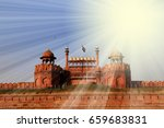 sun rays over the red fort  lal ... | Shutterstock . vector #659683831