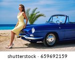 beautiful woman near retro...   Shutterstock . vector #659692159