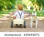 boy playing with his dog... | Shutterstock . vector #659693071