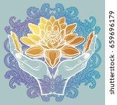 hand drawn beautiful lotus... | Shutterstock .eps vector #659696179