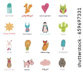 16 toys set in hand drawn style ... | Shutterstock .eps vector #659697331