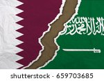flag of qatar and flag of saudi ... | Shutterstock . vector #659703685