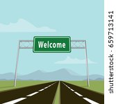 welcome traffic sign on  highway | Shutterstock .eps vector #659713141