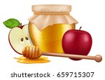 jar of honey with wooden dipper ... | Shutterstock .eps vector #659715307