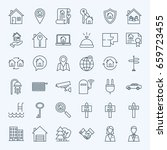 line real estate icons. vector... | Shutterstock .eps vector #659723455