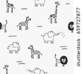 seamless pattern with cute hand ... | Shutterstock .eps vector #659727877