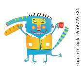 fun crazy whimsical monster... | Shutterstock .eps vector #659728735