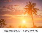 romantic sunset over the beach. ... | Shutterstock . vector #659729575