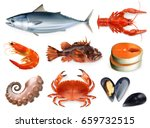 fish  crayfish  mussels ... | Shutterstock .eps vector #659732515