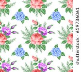 seamless pattern with roses and ...   Shutterstock . vector #659736061