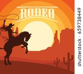 rodeo poster with cowgirl...