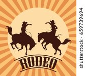 rodeo poster with cowboy and... | Shutterstock .eps vector #659739694