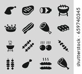 barbecue icons set. set of 16... | Shutterstock .eps vector #659740345