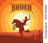 rodeo poster with cowboy... | Shutterstock .eps vector #659740381