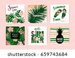 set of summer vacation cards in ... | Shutterstock .eps vector #659743684