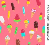 sweet ice cream flat colorful... | Shutterstock .eps vector #659744719
