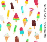 sweet ice cream flat colorful... | Shutterstock .eps vector #659744725