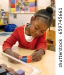 preschool  girl in the head... | Shutterstock . vector #659745661
