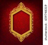 vintage gold picture frame on... | Shutterstock .eps vector #659748319