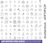 100 winter time icons set in... | Shutterstock . vector #659749129