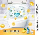 citrus fragrance toilet cleaner ... | Shutterstock .eps vector #659751655