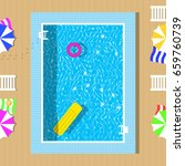 swimming pool top view with... | Shutterstock .eps vector #659760739
