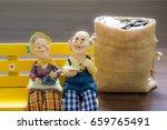 miniature happy senior couple... | Shutterstock . vector #659765491
