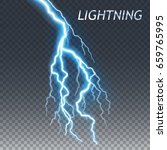 lightning and thunder bolt or... | Shutterstock .eps vector #659765995