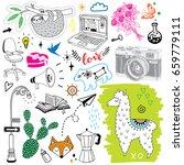 huge hand drawn doodles... | Shutterstock .eps vector #659779111