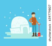 cheerful boy building a snow... | Shutterstock .eps vector #659779807