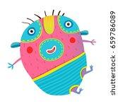 funny kids monster jumping... | Shutterstock .eps vector #659786089