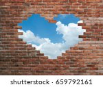 hole in old wall  brick frame | Shutterstock . vector #659792161