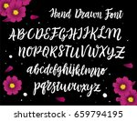 romantic script font on black... | Shutterstock .eps vector #659794195