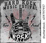 hard rock music poster | Shutterstock .eps vector #659797957